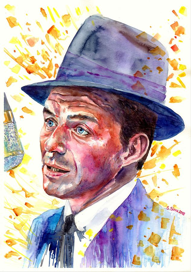 Frank Painting - Frank Sinatra Singing by Suzann Sines