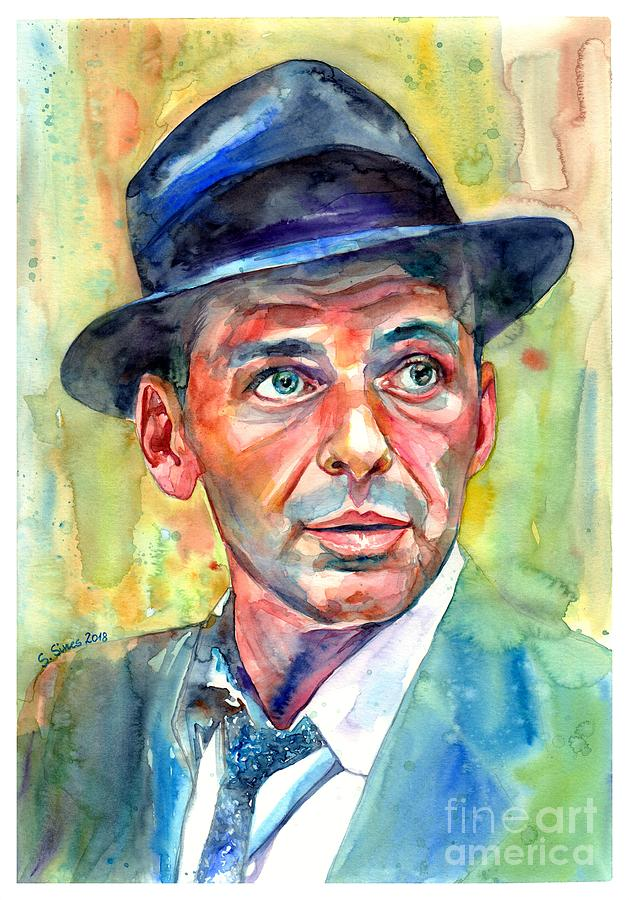 Frank Painting - Frank Sinatra Wearing A Fedora by Suzann Sines