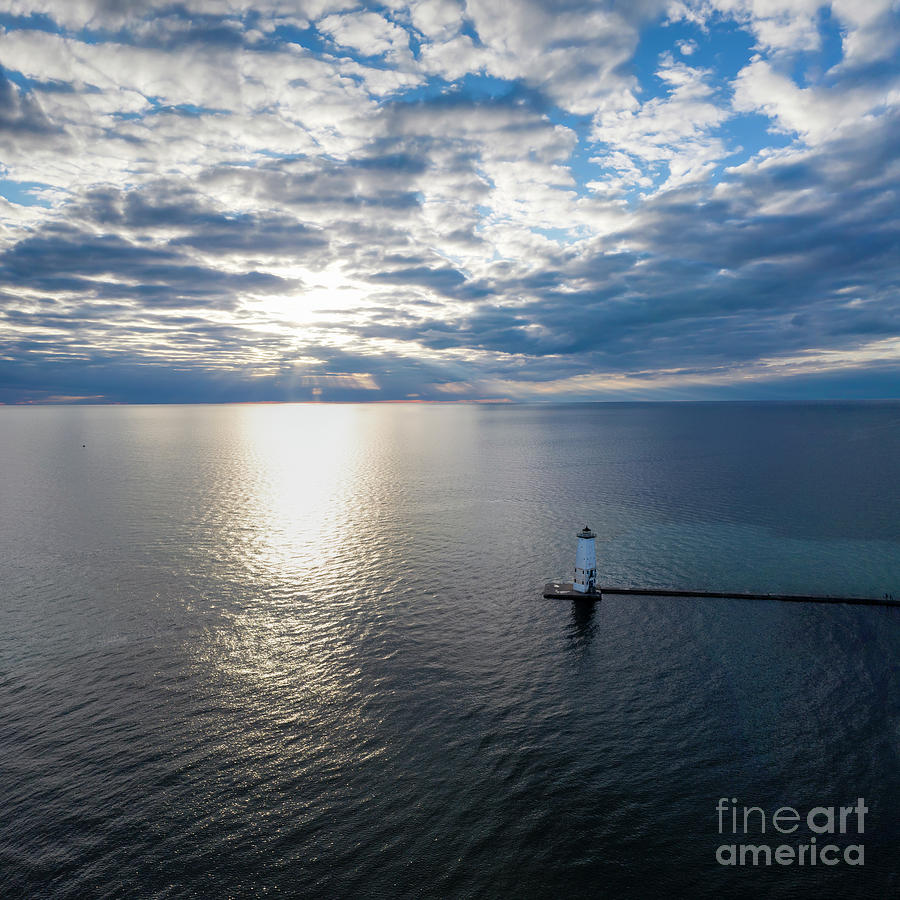 Frankfort Photograph - Frankfort Lighthouse Into Lake Michigan by Twenty Two North Photography