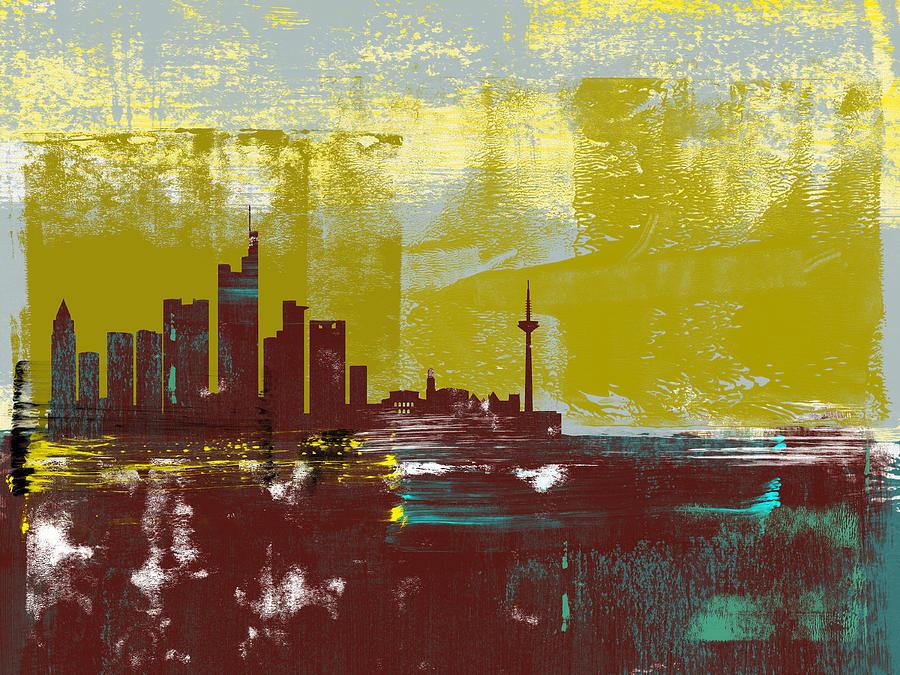 Frankfurt Mixed Media - Frankfurt Abstract Skyline I by Naxart Studio