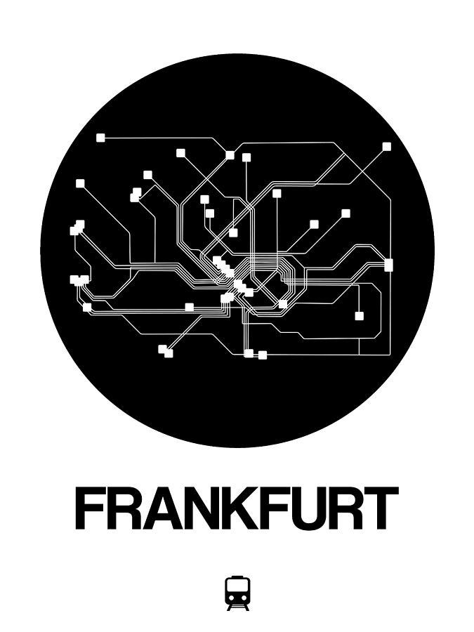Vacation Digital Art - Frankfurt Black Subway Map by Naxart Studio