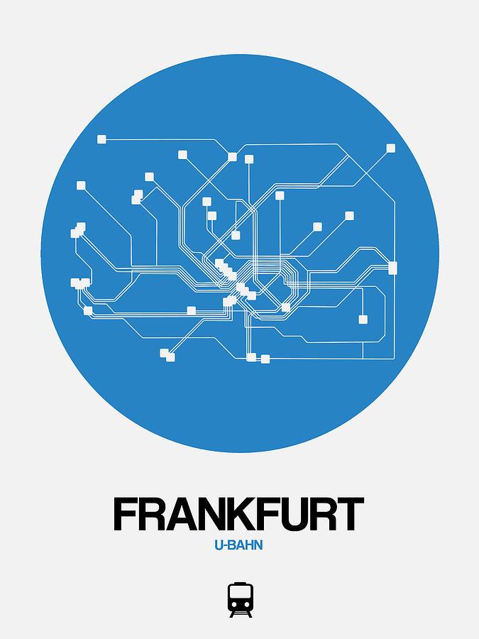 Vacation Digital Art - Frankfurt Blue Subway Map by Naxart Studio