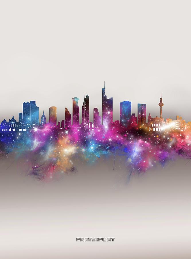 Frankfurt Digital Art - Frankfurt Skyline Galaxy by Bekim M