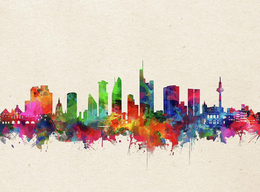 Frankfurt Digital Art - Frankfurt Skyline Watercolor by Bekim M