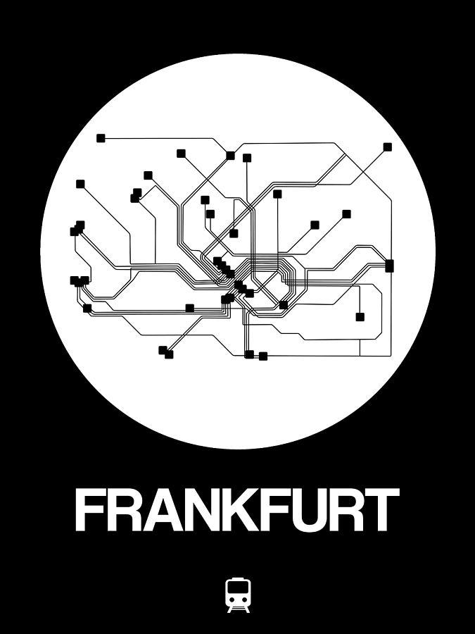Vacation Digital Art - Frankfurt White Subway Map by Naxart Studio