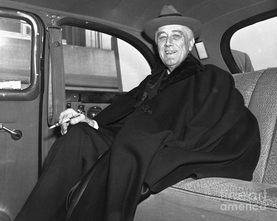 Franklin Delano Roosevelt In Car Photograph by Bettmann