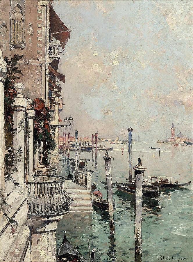 Nature Painting - Franz Richard Unterberger Austrian, 1837-1902 On The Grand Canal, Venice by Franz Richard Unterberger