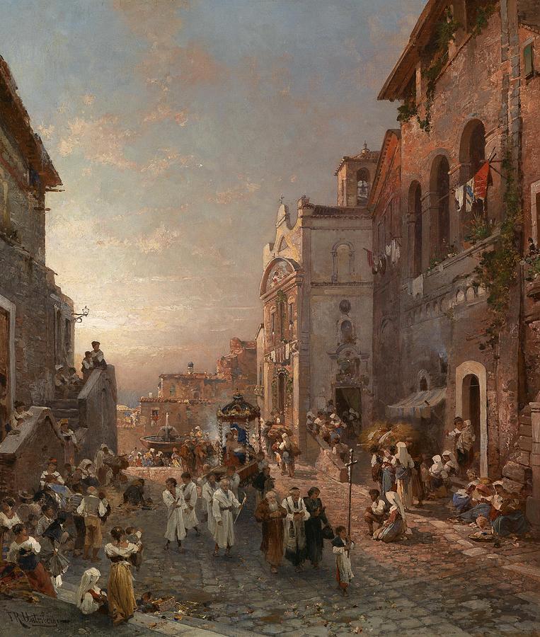 Nature Painting - Franz Richard Unterberger Procession Train In Naples by Franz Richard Unterberger