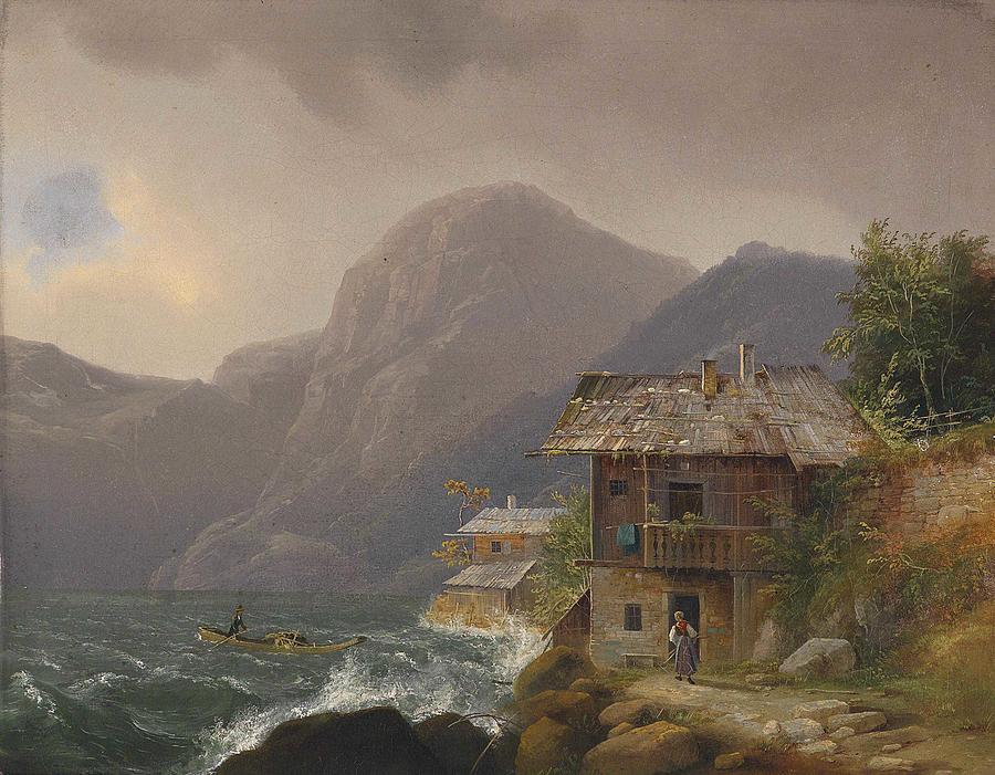 Nature Painting - Franz Steinfeld, Coastal Village by Franz Steinfeld
