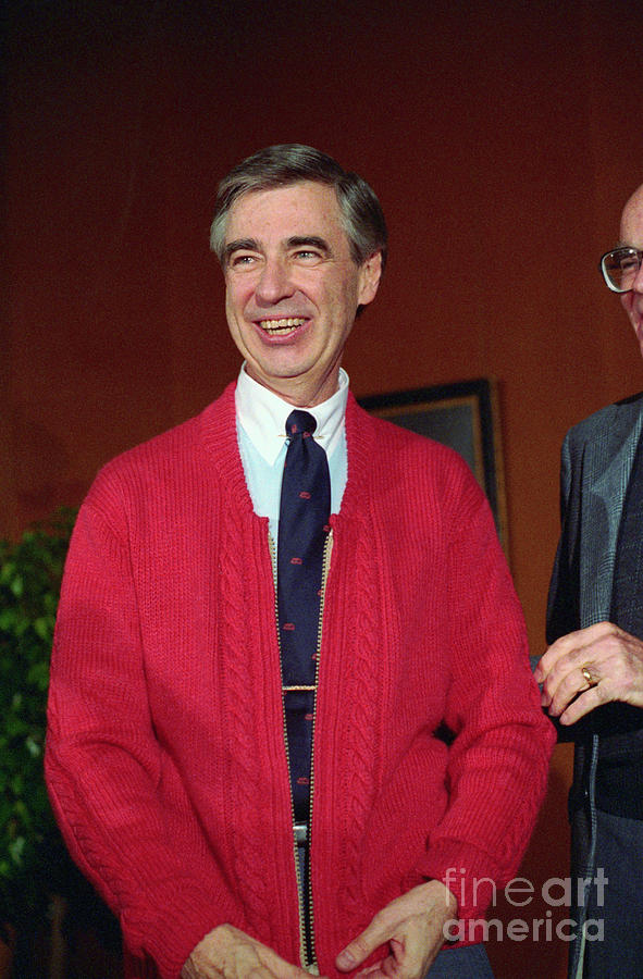 Fred Rogers Donating His Red Sweater By Bettmann