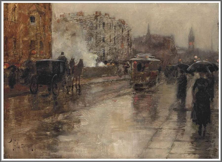 Nature Painting - Frederick Childe Hassam  1859-1935 Rainy Day, Boston - 1886 by Frederick Childe Hassam