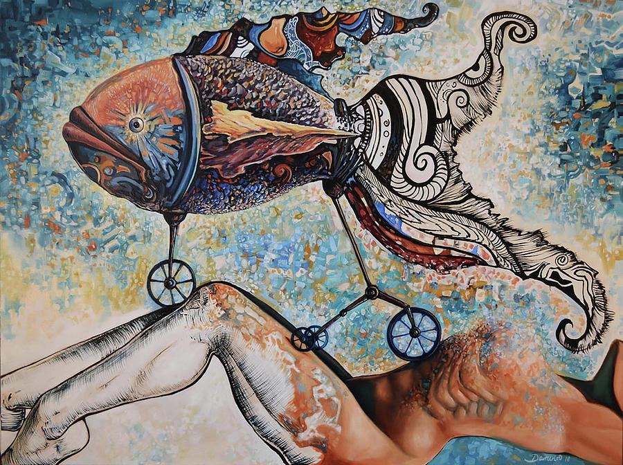 Surrealism Painting - Freedom and Consciousness great honeymoon by Darwin Leon