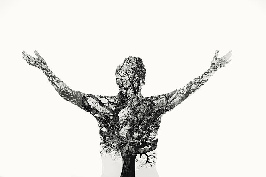 Freedom - Double Exposure Man With Tree Photograph by Themacx