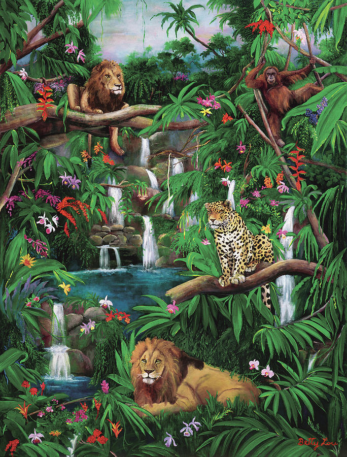 Jungle Painting - Freedom In The Jungle by Betty Lou