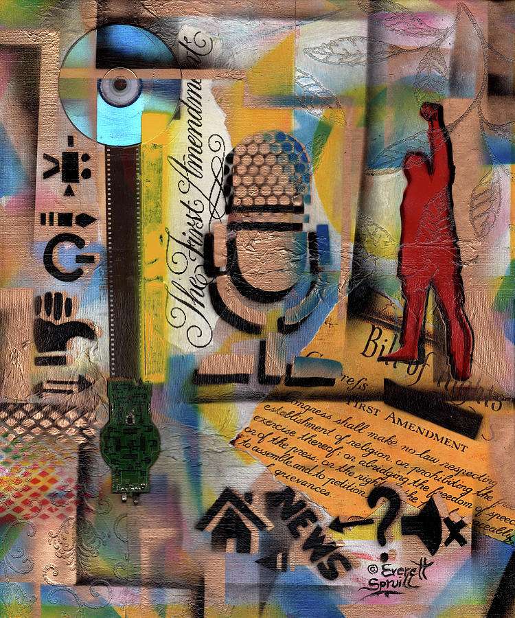 African Mask Mixed Media - Freedom of Speech #12 by Everett Spruill
