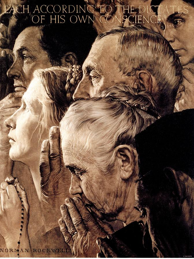 Praying Drawing - Freedom Of Worship by Norman Rockwell