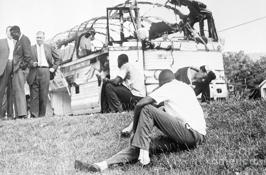 Freedom Riders By Burned-out Bus Photograph by Bettmann