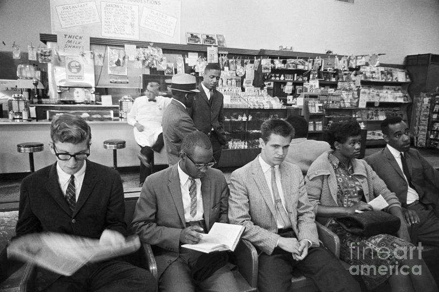 Freedom Riders Staging Sit-in At Bus Photograph by Bettmann