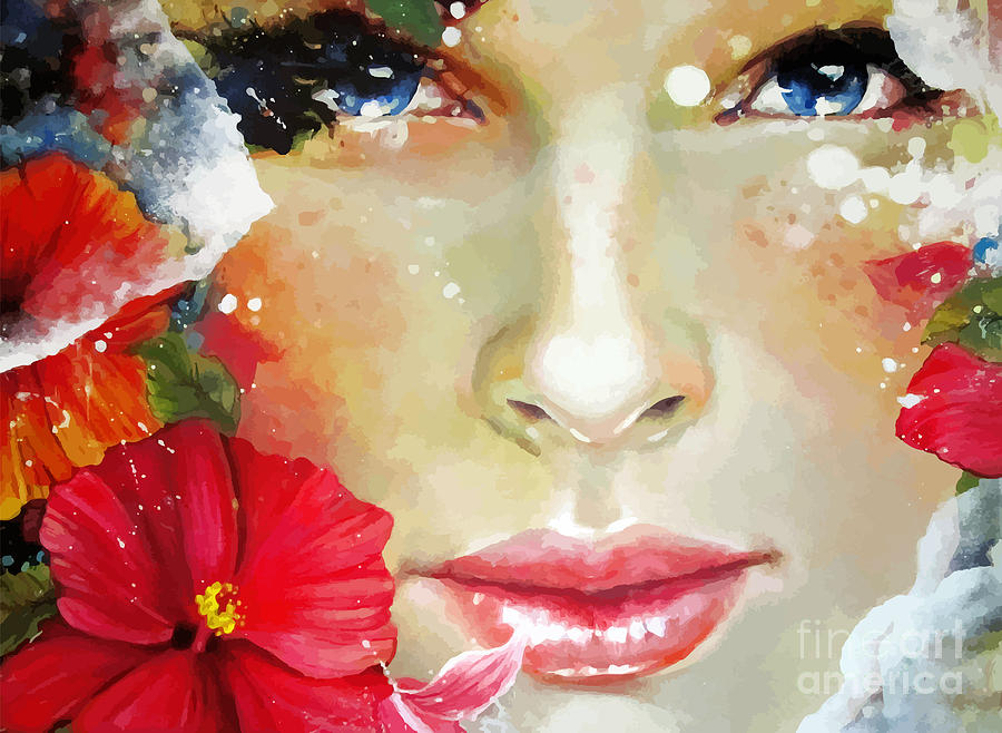 Beauty Digital Art - Freehand Painted Bright Color by Alisa Franz