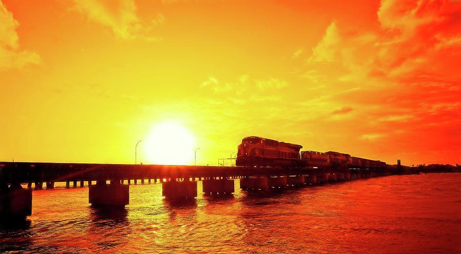 Freight Train at Sundown No 1 by Steve DaPonte