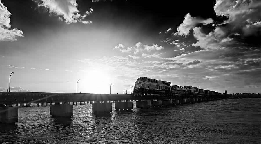 Roosevelt Bridge Photograph - Freight Train at Sundown No 2 by Steve DaPonte
