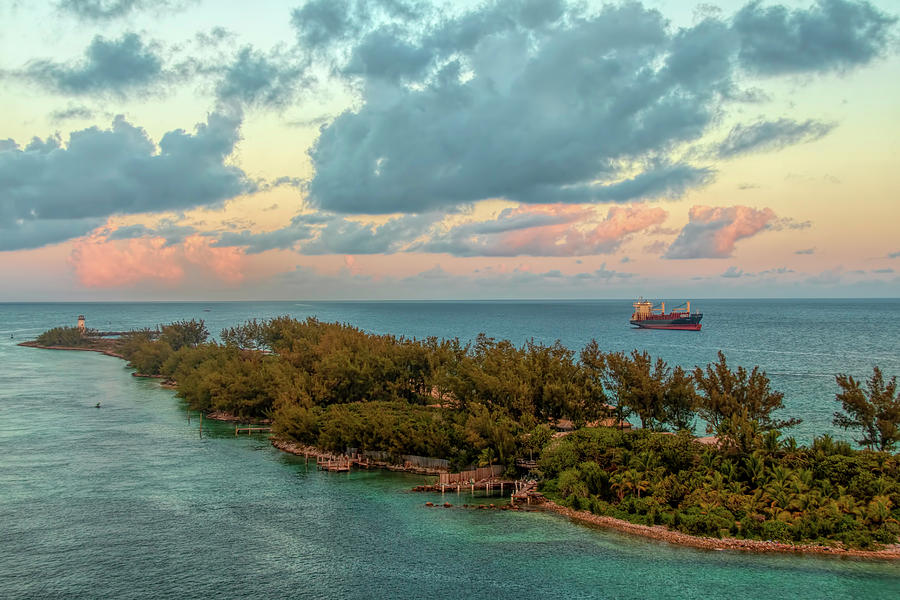 Freighter Off Paradise Island by Kristia Adams