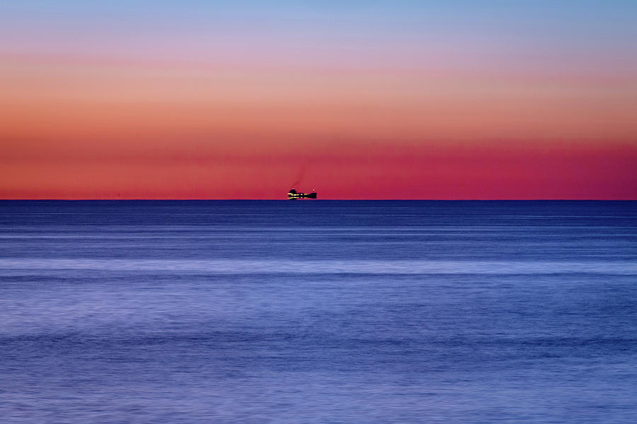Freighter on Lake Ontario by Jack R Perry