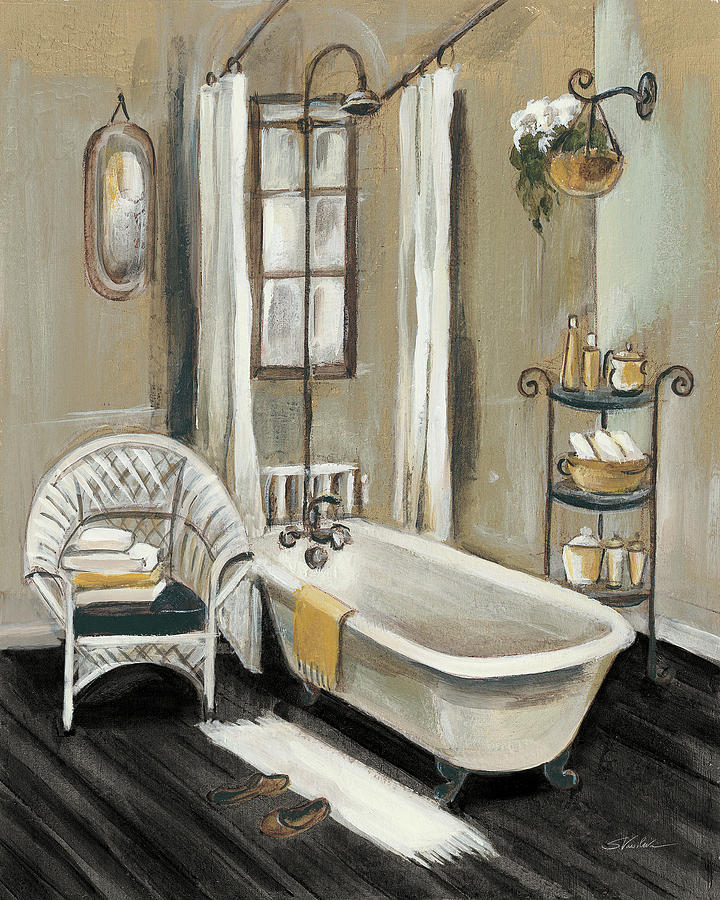 Bath Painting - French Bath II Black by Silvia Vassileva