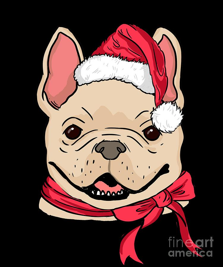 73b8a843d French Bulldog Digital Art - French Bulldog Xmas Hat Dog Lover Christmas by  TeeQueen2603