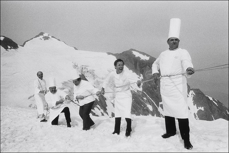 French Chefs At L Alpe D Huez In 1983 Photograph by Laurent Maous