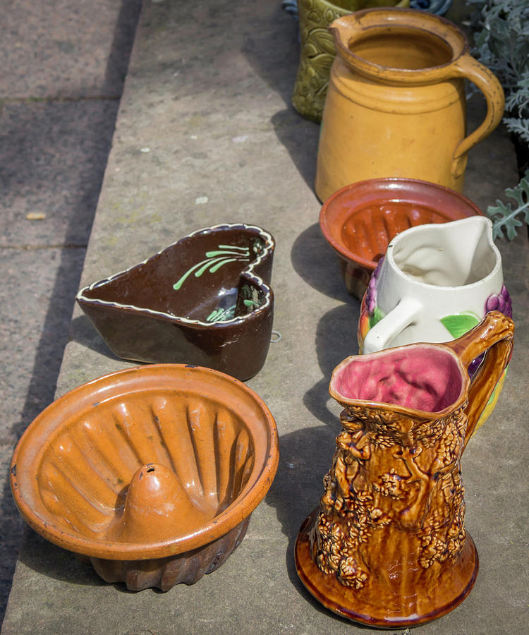 Alsace Photograph - French Flea Market Pottery by Teresa Mucha