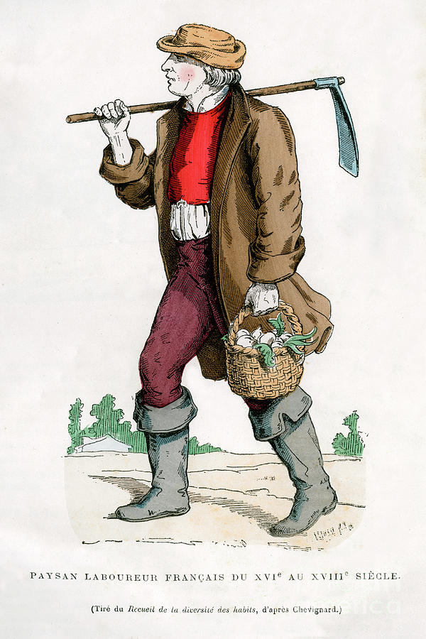 French Peasant Farm Labourer, 16th Drawing by Print Collector