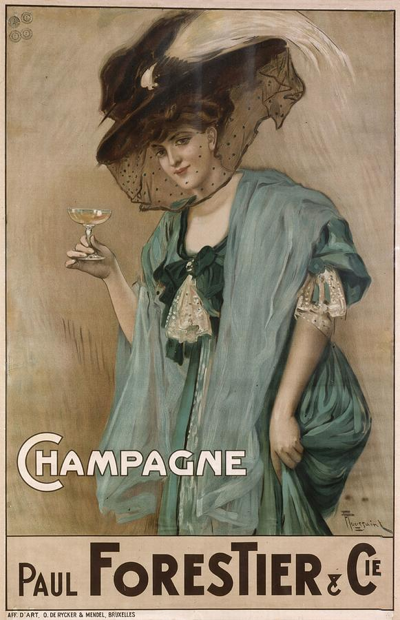 French Poster Advertising Champagne Photograph by Photos.com