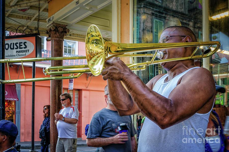 French Quarter Trombone Player on Royal by Kathleen K Parker