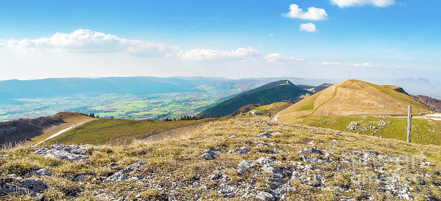 French rolling landscape hill mountain large panorama in summer by Gregory DUBUS