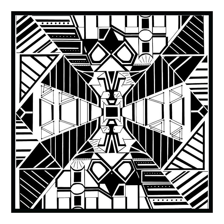 Frenemies Black And White Abstract Art Square