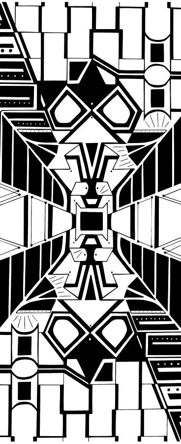 Frenemies Totem Black And White Abstract Art