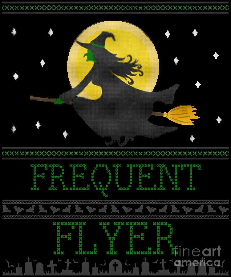 Frequent Flyer Ugly Halloween Witch Sweater by Flippin Sweet Gear