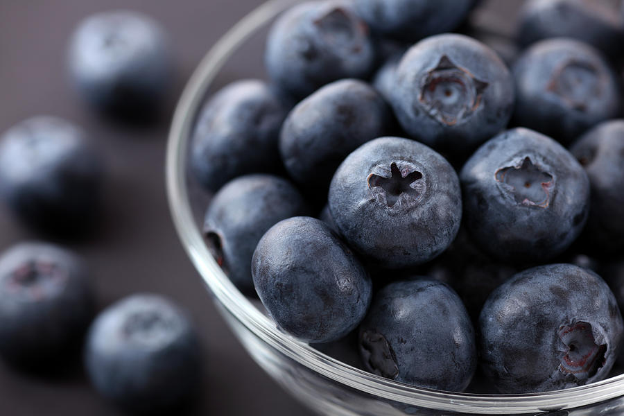 Fresh Blueberries In A Glass Bowl Photograph by Professor25