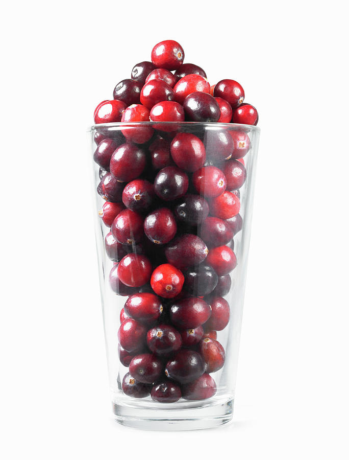 Fresh Cranberries In Drinking Glass Photograph by Lauren Nicole