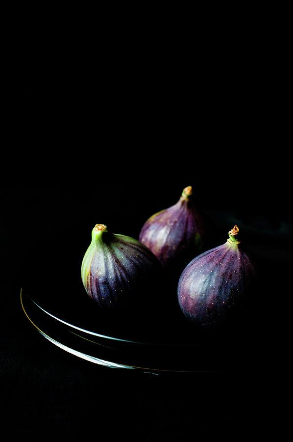 Fresh Figs On Black Background Photograph by Sarka Babicka