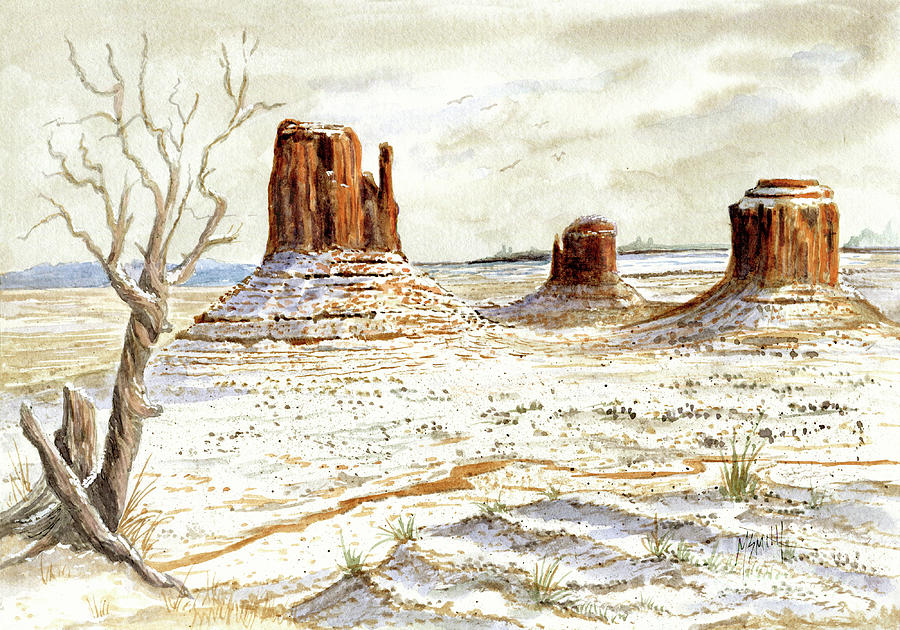 Fresh Snow In Monument Valley by Marilyn Smith