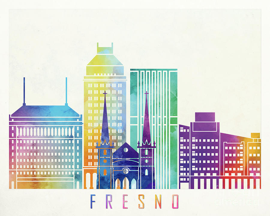 Fresno landmarks watercolor poster by Pablo Romero