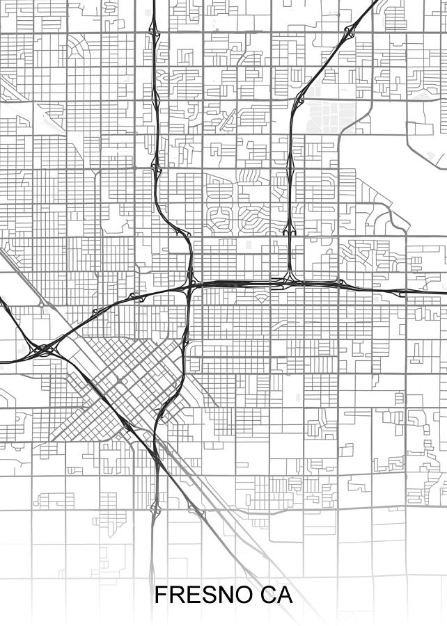 Fresno Map Ca Usa Drawing by Ihab Design on