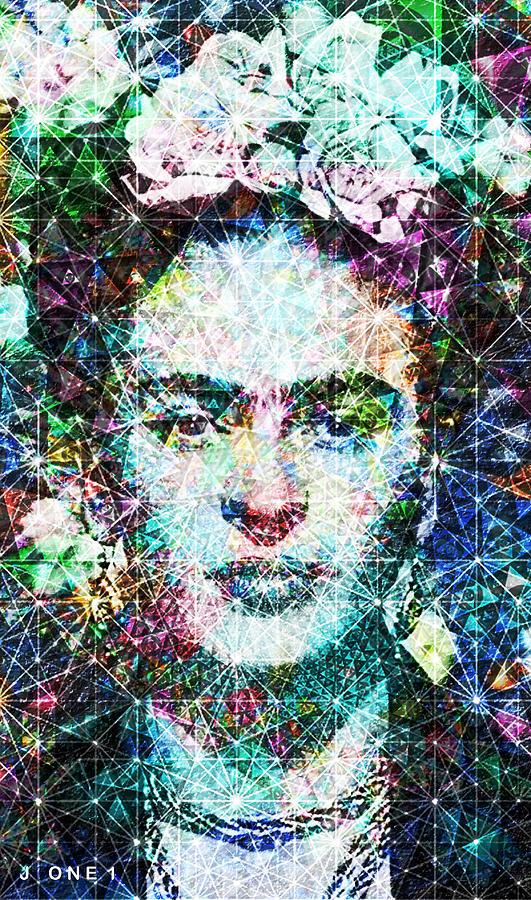 Frida Digital Art - Frida Fractal by J  - O   N    E     1