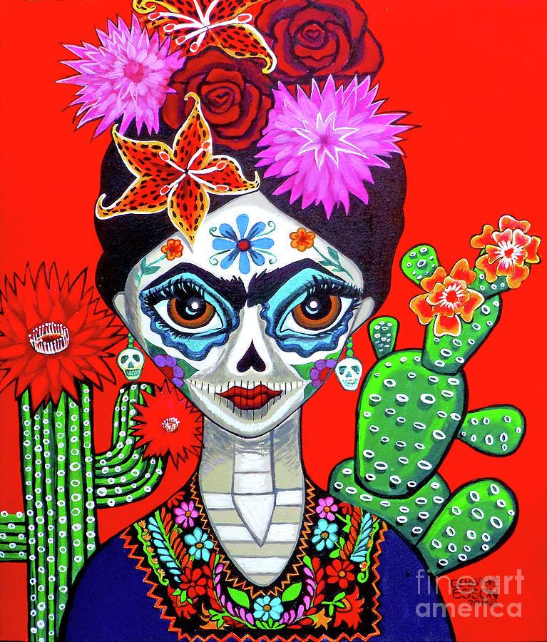 Frida Kahlo Dia De Los Muertos Portrait by Genevieve Esson