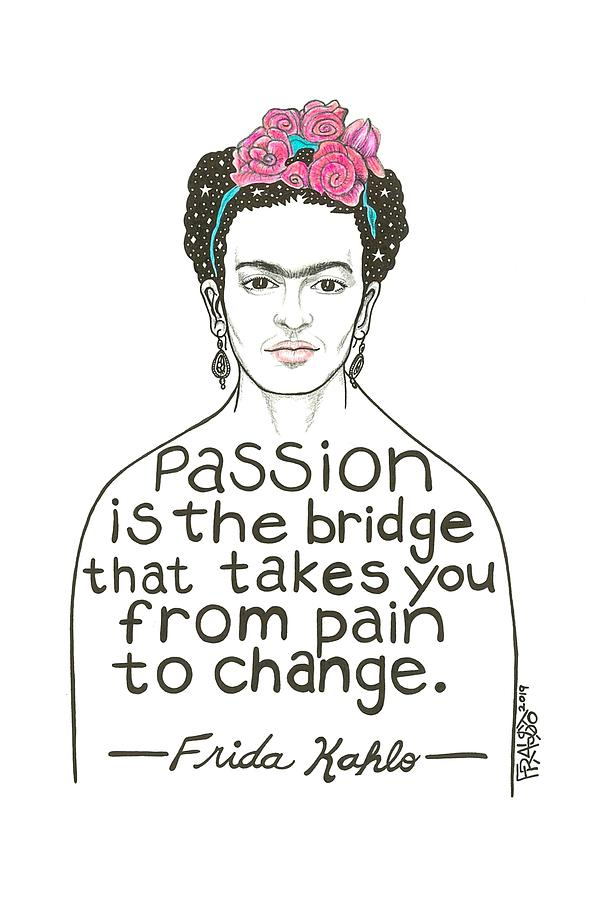 Pen And Ink Illustration Drawing - Frida Kahlo Drawing by Rick Frausto