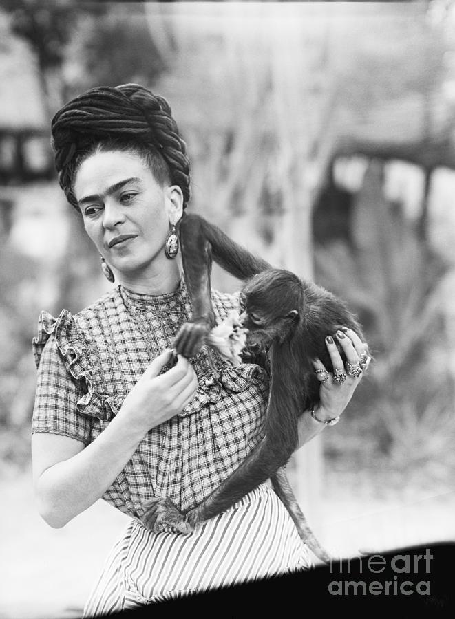 Frida Kahlo Holding Her Pet Monkey Photograph by Bettmann