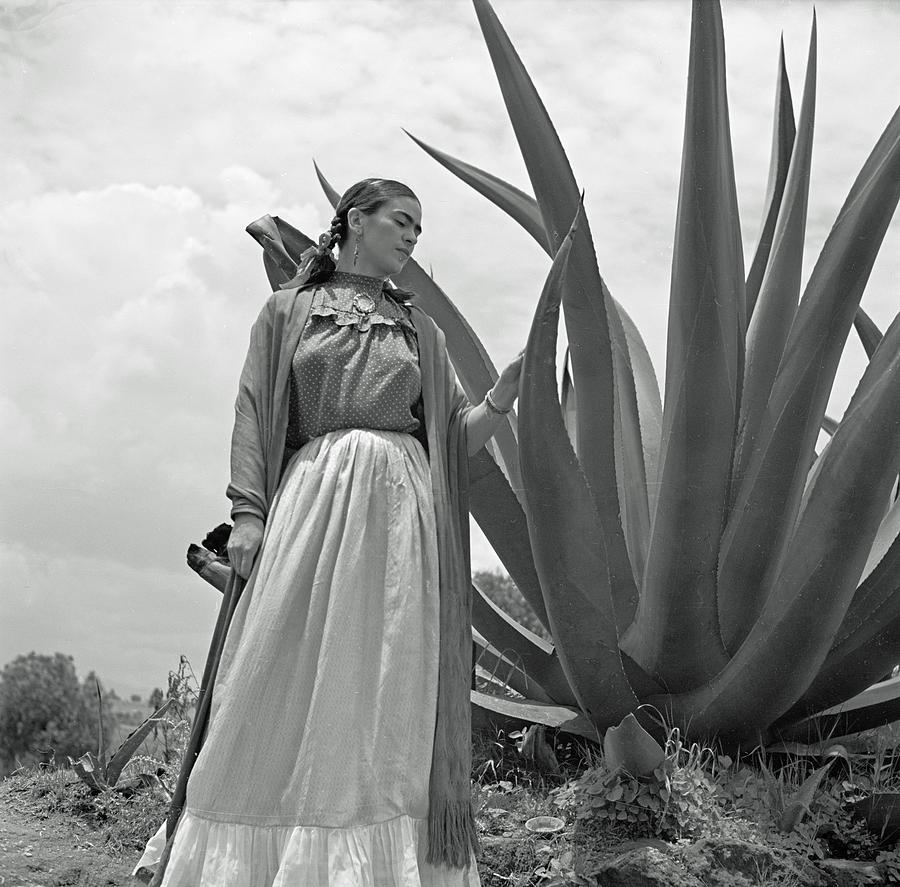 Frida Kahlo Photograph - Frida Kahlo Standing Next To An Agave Plant by Toni Frissell