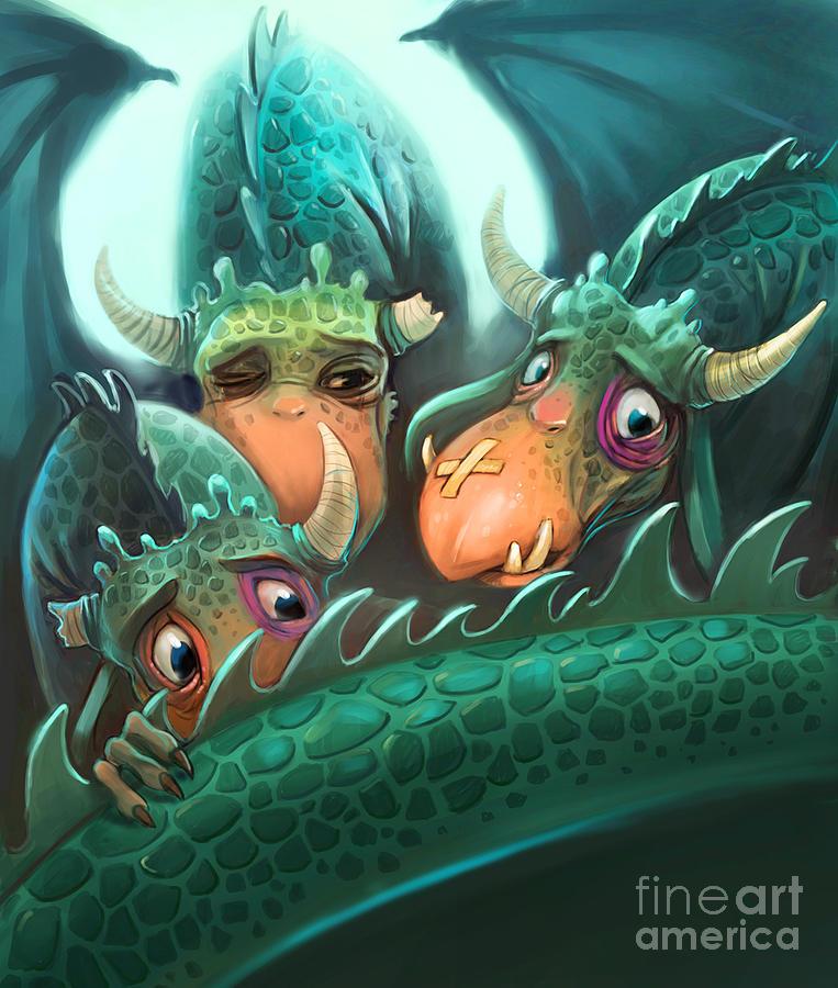 Fright Digital Art - Frightened Fabulous Monster by Annanenasheva